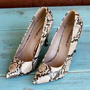 Breckelles Lydia Python Snake Print Stiletto Heels